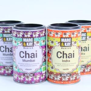 Marc & Kay Chai Latte. 4x250 gr. Chai Latte Indra, Chai Latte Mumbai Classic.