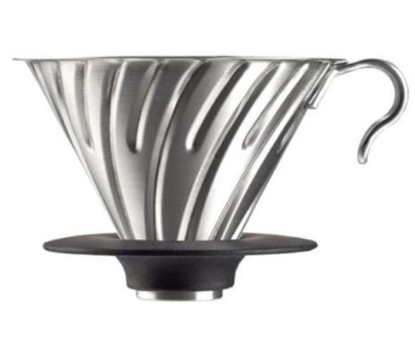 Hario v60-02 metal dripper i stål med silikone base