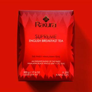 Rakura Supreme English Breakfast te- 500 gram løs te